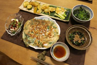 いかと桜エビのチヂミとか野菜のジョンの韓国飯 と 風見鶏をDIY♪