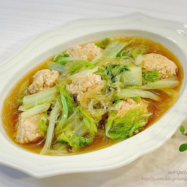 【ほぼ10分】フライパンひとつde簡単♡鶏だんごと白菜の春雨煮
