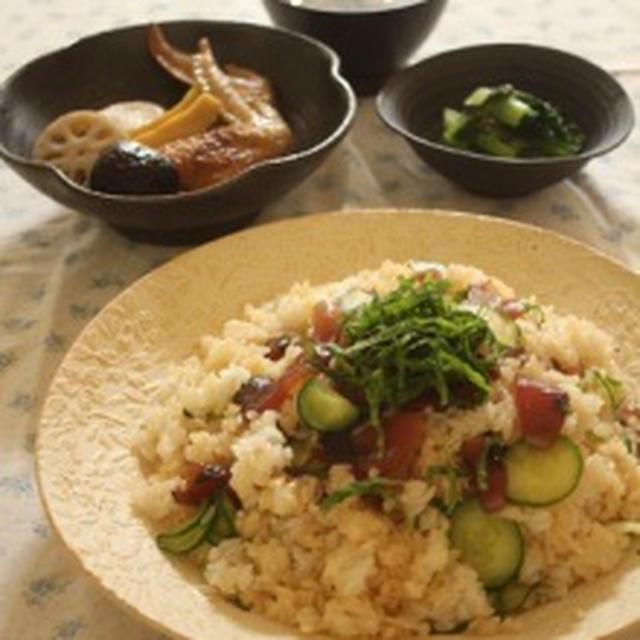新しいお酢で♪カツオのてこね寿司&手羽とたけのこの煮物