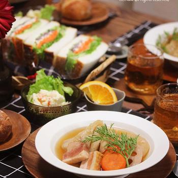 【献立】太っちょサンドイッチと根菜ポトフ。~お弁当、その後の話~