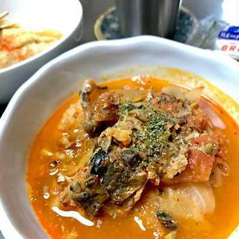 鯖味噌缶でトマトキムチ煮のお晩酌。書写(信じる)