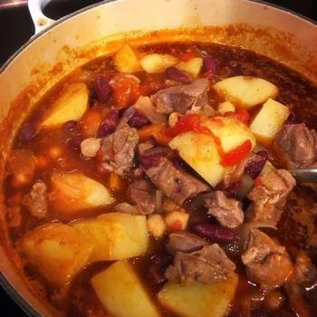 ちょいメキシカン!ラム肉とお豆のチリトマトシチュー