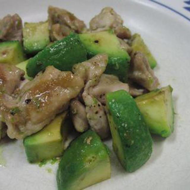 アボカドと鶏もものギー(バター)柚子胡椒ソテー