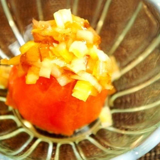 カワハギのお造り蓼酢風で、トマト奴、カワハギ白子の大葉ソテーと国産白のマリアージュ