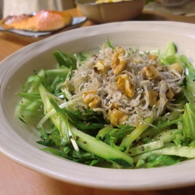 キュウリとカリカリじゃこ&胡桃サラダ*サツマイモ柚子胡椒サラダ
