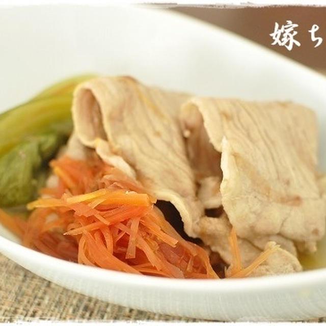 優しい味♪野菜とお肉の旨みが味わえる。豚薄切りと青梗菜の薄味煮。