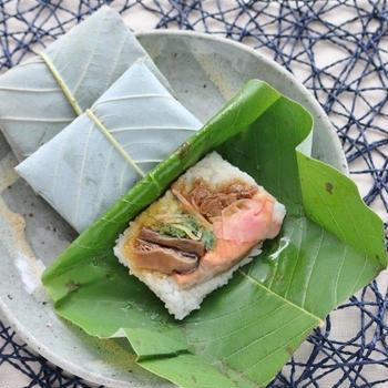 朴葉寿司とカツオの塩タタキ