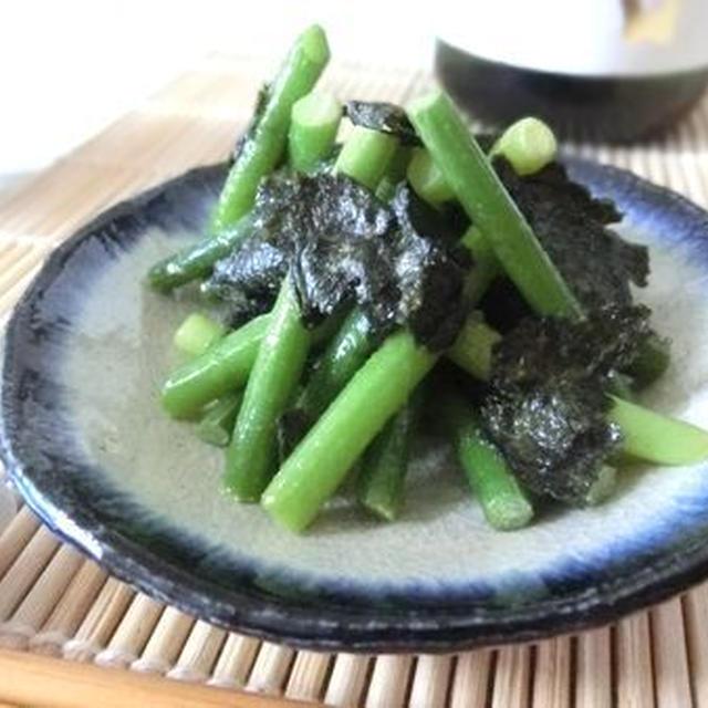 スピード副菜☆ にんにくの芽と焼き海苔のからしつゆ和え
