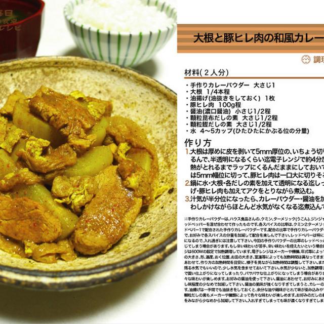 大根と豚ヒレ肉の和風カレー風味の煮物 手作りカレーパウダー料理 -Recipe No.1230-