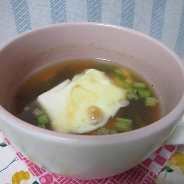 【世界の朝ごはん 無国籍】セロリと豆腐のグラタンスープ