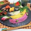 七夕のおもてなし素麺  今年は吹き流し風?天の川風?  黒いお皿で賛否両論