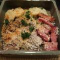 秋刀魚とベーコンポテトのパン粉焼きと柿の生ハム巻の晩ご飯と キヨスミシラヤマギクの花♪