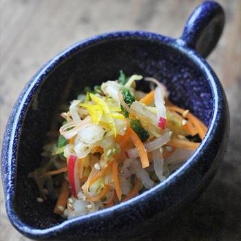 ■【ヤマキだし部】柚子香る、白菜と人参とサラダ大根の胡麻たっぷり即席漬け♪