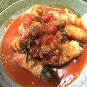 豚肉ネギ巻き の トマト煮