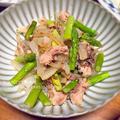 アスパラと鯖缶の炒め物