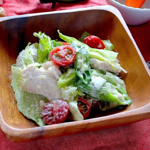 オクラとレタスのチキンサラダ【シャキシャキたっぷり簡単ダイエットに】|レシピ・作り方