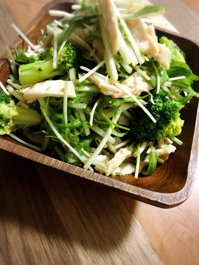 鶏むねと水菜のゴマだれサラダ