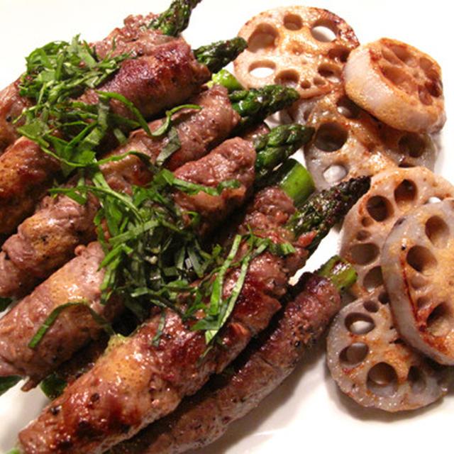 牛肉アスパラ巻きバジルソース、新じゃがのイタリアンソテー、オクラとエリンギのバター炒め