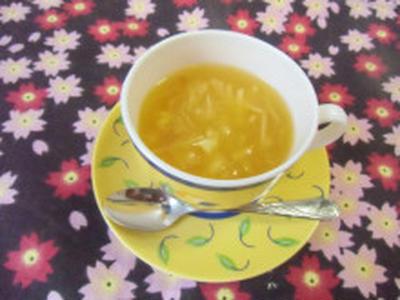 お天気に恵まれました  生姜とオレンジの葛湯