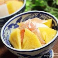 【ぎふベジ】柿編② ~ サクサクが楽しい♪ 太秋柿と大根、生ハムのシンプルサラダ。