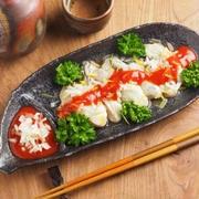 牡蠣のタバスコケチャップソースかけ