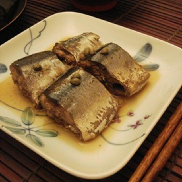 秋刀魚と実山椒の炊いたん、じゃが芋と玉蜀黍のお焼きを焦がしバター醤油で
