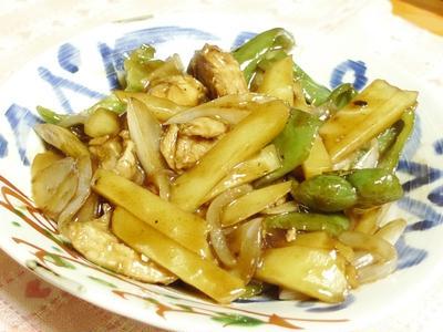 鶏肉とジャガイモの香酢炒め