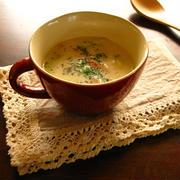 キャベツと厚切りベーコンのコンソメミルクスープ