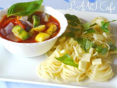 夏野菜のつけスパゲッティ