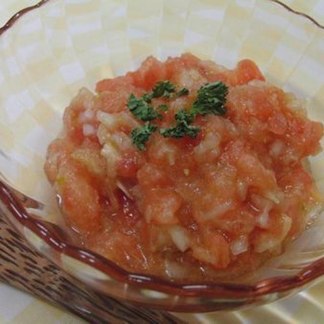 冷凍トマトを切って混ぜるだけ♪ 隠し味に柚子胡椒☆ シャーベット風ガスパチョ