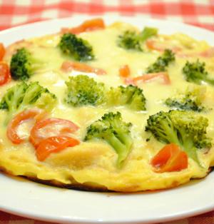 フライパンで ブロッコリーとトマトの 簡単キッシュ ☆