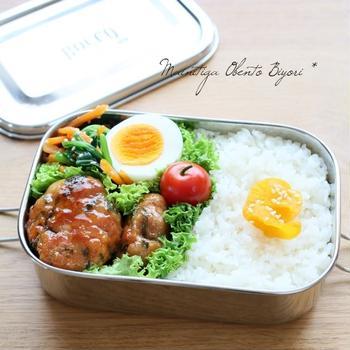 豚こま肉+お豆腐で☆豚こま豆腐バーグのお弁当