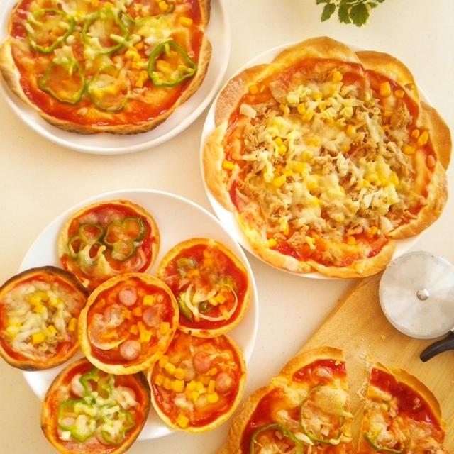 餃子の皮で作る薄焼きピザ《フライパン・オーブン・トースターそれぞれでの作り方》