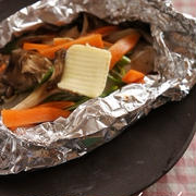 タラと野菜のホイル焼き バターポン酢
