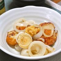 旬野菜で超簡単なのに旨い〜おつまみ!新たまねぎとたまねぎ揚げの粗切り生しょうが添え。