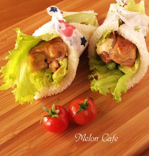 照り焼きチキンのサンドシナイッチ(サンドしないサンドイッチ)☆簡単おうちごはん、子どもたちと手軽に作って食べたくて。