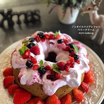 感動の1日♡とノンオイル!ココアシフォンでクリスマスケーキ