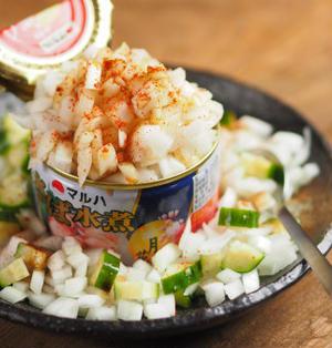 鯖の水煮缶でサバサラ風