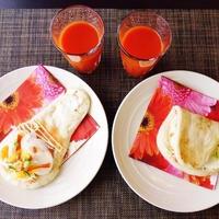 おうちでナンスタイル♪~スモークサーモンとたまごのクリームチーズサンドイッチ風~