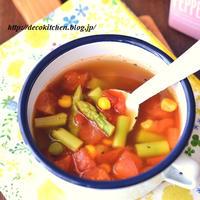 5分で!バテ気味~とか食欲ない~てときに◎「アスパラとトマトのチリコンカン風スープ」
