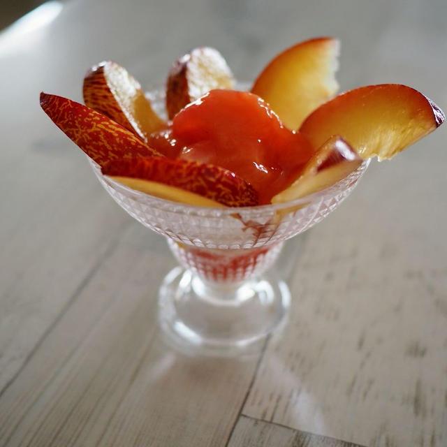 プラムのミニパフェ【#簡単レシピ #ダイエット #すもも #プラム #夏のおやつ】