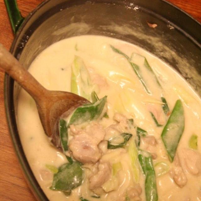 豚肉とネギの醤油クリーム煮