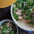 ルクルーゼでオイルサーディンとルッコラの混ぜご飯