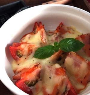 トースターで【トマトとベーコンのオーロラソース焼き】