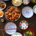 鶏のからあげ・・・朝昼兼用 味つけジンギスカン・・・夕餉