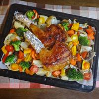 照り焼きローストチキンと野菜キノコのぎゅうぎゅう焼き
