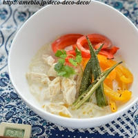 やさしい味♡野菜が甘~い「ささみとグリル野菜の豆乳冷やしそうめん」