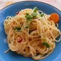 チーズと貝割れ大根のスパゲッティ
