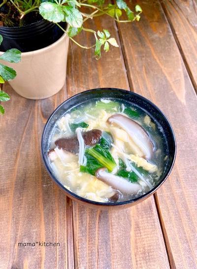 白だしでカンタン!椎茸が主役の♩具沢山とき玉スープ*メニューの写真って難しい。