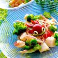 ホタテとトマトの冷た〜いカッペリーニ 金魚のせ°₊·ˈ∗(( ॣ>̶᷇ᗢ<̶᷆ ॣ))∗ˈ‧